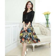 [AUD $ 16.52] Blady Women's Round Neck Floral Print Chiffon Dress