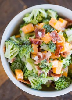 Brown Eyed Baker: The BEST Broccoli Salad! It's loaded with bacon and cheese, and tossed in a creamy dressing. Can use honey mustard or poppyseed dressing.