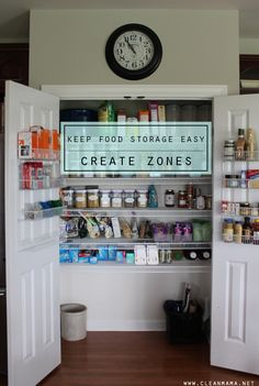 I already do this, but my pantry doesn't look anywhere near as pretty as this one! LOL Keep Food Storage Easy - Create Zones - Clean Mama Cupboard Storage, Food Storage, Kitchen Storage, Storage Ideas, Kitchen Pantry, Kitchen Organization, Organization Hacks, Organizing Ideas, Zone Cleaning