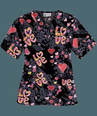 UA Valentine Love Black Print Scrub Top Black Scrubs, Scrub Life, Medical Scrubs, Scrub Tops, Heart Print, Black Print, Creative Ideas, Classic Style, Men Casual