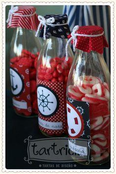 'Gummies in a bottle', Sailor Candy bar Sailor Theme Parties, Sailor Party, Birthday Souvenir, Nautical Mickey, Nautical Party, Sailor Baby Showers, Baby Boy Shower, Baby Showers Marinero, Pirate Party