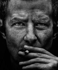 Self-portrait | male, low key, cigarette, black and white