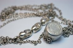Anti-Depression     ~     STATEMENT NECKLACE     ~       Twist 'pill lid' made by lathe andlaser-cutter marker and cast...  3 rotational pill/packet charms on bar...  Loose pill links amongst chain…