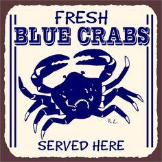 Blue Crabs Vintage Metal Art Retro Tin Sign