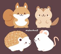 Woodland Critters | @mahoukarp Cute Animal Illustration, Cute Animal Drawings, Kawaii Drawings, Cute Drawings, Cute Kawaii Animals, Cute Cartoon Animals, Cute Baby Animals, Cute Animal Videos, Cute Animal Pictures
