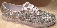 100% Genuine Rhinestone Crystal Vans Shoes- Bridal Prom Romany Trainers on Wanelo