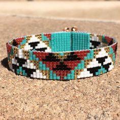 Pink and Turquoise Aztec Bead Loom Bracelet Bohemian Boho Artisanal Jewelry Indian Native American Inspired Western Bead Santa Fe