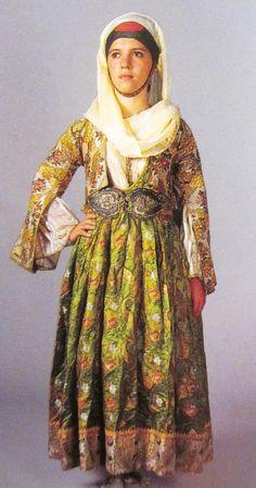 raditional bride's costume from KymiGreece Greek Traditional Dress, Traditional Outfits, Bride Costume, Greek Clothing, Star Wars Darth, Pli, Celebs, Greece Costume, Culture