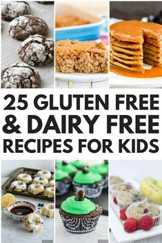Looking for EASY gluten free and dairy free recipes for kids? Weve rounded up 24 allergy-friendly breakfast lunch dinner dessert and healthy snack recipes your little ones will love. From Zucchini Banana Oatmeal Pancakes to Paleo Piz Dairy Free Recipes For Kids, Dairy Free Snacks, Kids Cooking Recipes, Gluten Free Desserts, Snack Recipes, Dessert Recipes, Cooking Games, Dairy Free Breakfasts, Cooking Turkey