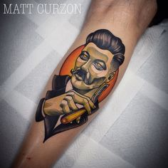 Vintage gent w/ straight razor on Rob. Thanks for getting me to do this man! @mattcurzon @o_happy_dagger_tattoo mattcurzontattoo@gmail.com