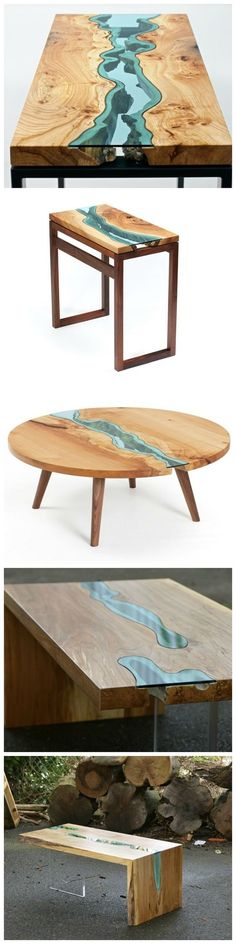 Wood Tables Embedded with Glass Rivers.
