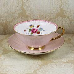 Vintage Shelley Oleander Blush Pink Floral Bone by scdvintage $120
