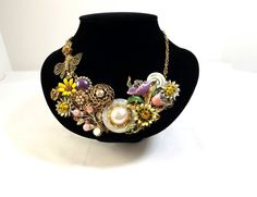 OOAK Upcycled from Vintage Statement Necklace by KatsCache on Etsy, $149.95