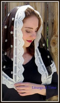 Catholic Chapel Veils -- Sheer Black Mantilla Chapel Veil Headcovering with Ecru Accents A soft, sheer black net with embroidered ecru accents and ecru trim. Returns are easy a Catholic Traditions, Catholic Veil, Mantilla Veil, Chapel Veil, Head Coverings, Hand Fans, Christian Women, Headgear, Religion