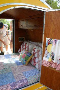 road bed in a tear drop camper
