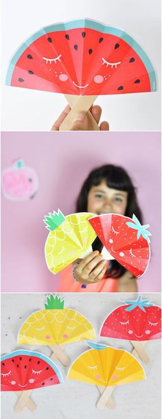 Summer Fruit Paper Fans with Free Printable. Adorable fruit craft for kids. Wouldn't these be fun for a kids summer party?