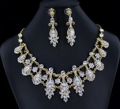 Crystal Necklace Set   NS-H001854 G-Clear #blingnecklace #blingjewelry #pageantnecklace #pageantjewelry #promnecklace #promjewelry #lmbling