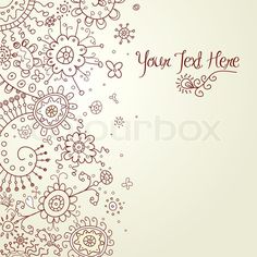 Hand-Drawn Abstract Doodles and Flowers Vector Illustration ...
