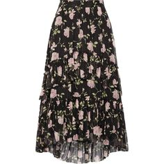 Ulla Johnson Begonia ruffled floral-print silk-crepon midi skirt (1.790 BRL) ❤ liked on Polyvore featuring skirts, black, floral midi skirts, silk midi skirt, ruffle midi skirt, frill skirt and mid-calf skirt