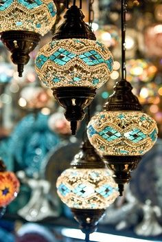 This is such a charming lamp. The color of the shade is more of a turquoise than a bohemian blue. When lit, this lamp is gorgeous! Turkish Lamps, Turkish Lights, Turkish Decor, Deco Boheme, Moroccan Style, Turkish Style, Turkish Design, Moroccan Design, Home And Deco