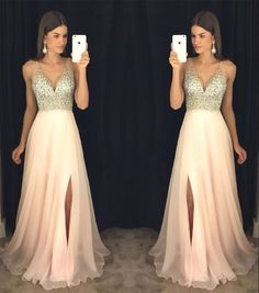 Simple Wedding Dress, New Arrival Prom Dress,Modest Prom Dress,sparkly Crystal Beaded V Neck Open Back Long Chiffon Prom Dresses 2017 Pageant Evening Gowns With Leg Slit AilsaBridal Sparkly Prom Dresses, V Neck Prom Dresses, Prom Dresses 2017, Modest Dresses, Dance Dresses, Pretty Dresses, Beautiful Dresses, Bridesmaid Dresses, Dress Prom