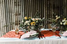 rustic tablescape with macrame runner