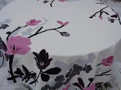 Cotton Tablecloth with Blossom Print Square / Round / by MilaStyle