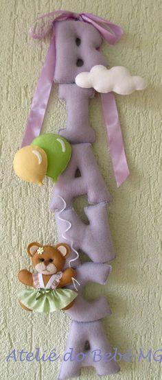 Ateliê do Bebê MG: Nome de Bebê em Feltro (Bianca) letras 9 cm alt