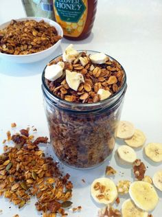 Lightened-Up Banana Coconut Granola - Hummusapien #vegan #recipe #snack