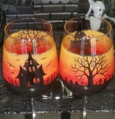 Haunted Halloween hand painted wine glasses. by GlassesbyJoAnne, $48.00