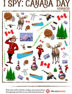Day I Spy Game Print a perfect little boredom buster to get the kids in the spirit of Canada Day!Print a perfect little boredom buster to get the kids in the spirit of Canada Day! Canada For Kids, Canada Day 150, Canada Canada, Happy Canada Day, Toronto Canada, Canadian Symbols, Canadian History, Canadian Facts, Canadian Memes