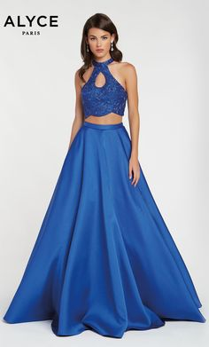 8ea31c42ca1a Alyce Paris Style 60386 Royal Blue Two Piece Mikado A-Line Dress With A  Keyhole