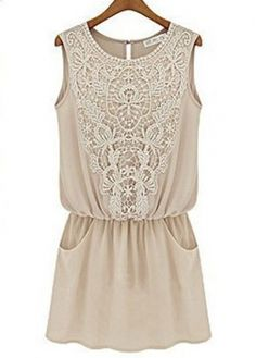 New Arrival Round Neck Sleeveless Summer Dress Apricot
