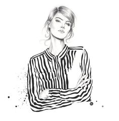 Fashion illustration, chic striped shirt // Esra Roise