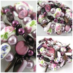 Plum with Ceramic floral and Shell Stick Memory Wire Bangle Bracelet