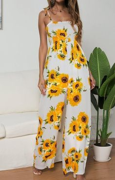 Yellow Sunflower Print Shoulder-Strap Lace-up Ruched Palazzo Pants Romper Bohemian Long Casual Jumpsuit Sunflower Clothing, Sunflower Dress, Sunflower Print, Yellow Sunflower, Casual Jumpsuit, White Jumpsuit, Jumpsuit Dress, Dressy Pants, Long Jumpsuits