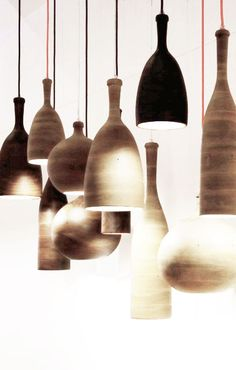 = bunched wood pendants and red cords