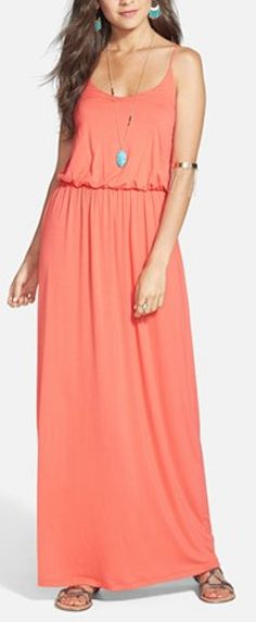 pretty #coral maxi dress http://rstyle.me/n/ism6vr9te