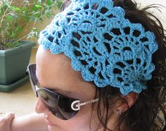 hair kerchief pattern crochet | Crochet Hairband- Summer Hair Fash ion Accessories - handcrochet ...