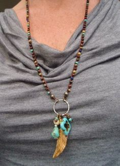 Long Boho crochet necklace FeatherWeight OOAK by slashKnots, $94.00