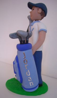 how to make fondant burlesque figure Golf Birthday Cakes, Dad Birthday, Golf Cakes, Polymer Clay Figures, Fondant Figures, Golf Course Cake, 50th Cake, Cake Decorating With Fondant, Sport Cakes