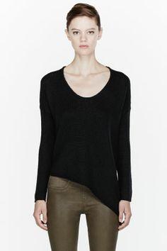 HELMUT HELMUT LANG Black Soft Chainette Asymmetric sweater  FW13