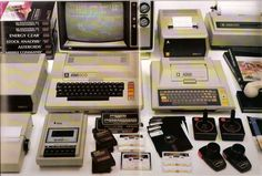 The Atari 800 (left) and Atari 400 (right) with some popular peripherals