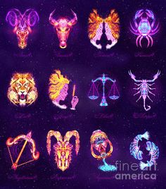 PERSONALISED ZODIAC ART - The 12 Zodiac Signs - Lightburst by ©ifourdezign - Available to buy #Prints #Posters #FineArtAmerica #Zodiac #Astrology #Starsigns #TwelveSigns #Fractal #Abstract #DigitalArt (Please retain ALL credit -TY)