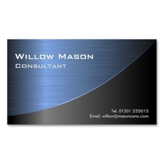 Cool Black Brushed Blue Steel Effect- Bus Card Business Card. This great business card design is available for customization. All text style, colors, sizes can be modified to fit your needs. Just click the image to learn more!