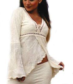 Natur weißes asymmetrisch geschnittenes Damen Shirt #Sommershirt #Bluse Fledermausärmel 100% ökologische Pima Baumwolle