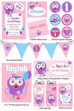 Ideas Hoot and Hootabelle Party Twin Birthday, 2nd Birthday Parties, Birthday Ideas, Personalised Bunting, Party Packs, Childrens Party, Party Printables, Party Planning, First Birthdays