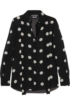 Boutique Moschino - Polka-dot Silk-chiffon Shirt - Black - IT42