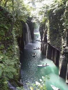 Takachiho, Miyazaki. How incredible would it be to kayak down this river with all the beautiful waterfalls?