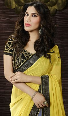 183562 Black and Grey,Yellow  color family Bollywood sarees in Faux Georgette,Net fabric with Border,Machine Embroidery,Stone,Thread work .